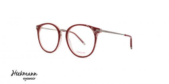 عینک طبی کائوچویی هیکمن - رنگ بدنه قرمز - عکاسی وحدت - زاویه سه رخ