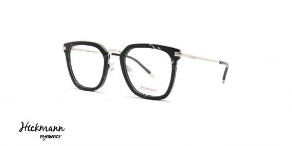 عینک طبی کائوچویی فلزی هیکمن - رنگ بدنه مشکی نقره ای - عکاسی وحدت - زاویه سه رخ
