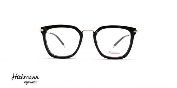 عینک طبی کائوچویی فلزی هیکمن - رنگ بدنه مشکی نقره ای - عکاسی وحدت - زاویه رو به رو