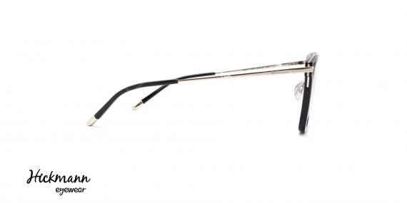 عینک طبی کائوچویی فلزی هیکمن - رنگ بدنه مشکی نقره ای - عکاسی وحدت - زاویه کنار