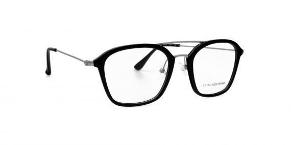 عینک طبی مربعی شکل مشکی رنگ زینیا - زاویه سه رخ