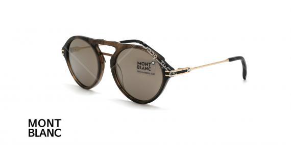 عینک دوپل گرد مون بلان - MONTBLANC MB716 - رنگ قهوه ای هاوانا - اپتیک وحدت - عکس زاویه سه رخ