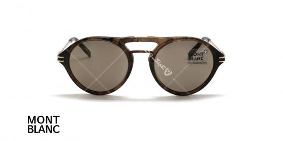 عینک دوپل گرد مون بلان - MONTBLANC MB716 - رنگ قهوه ای هاوانا - اپتیک وحدت - عکس زاویه روبرو