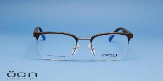 عینک طبی طرح کلاب مستر دسته چوبی اوگا فرانسه - عکاسی وحدت - زاویه روبرو