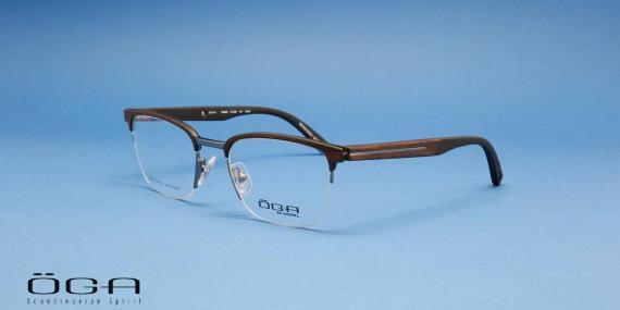 عینک طبی طرح کلاب مستر دسته چوبی اوگا فرانسه - عکاسی وحدت - زاویه سه رخ