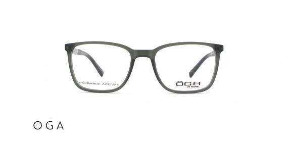 عینک طبی اگا - دسته چوبی طوسی رو به سبز - زاویه روبرو
