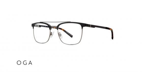 عینک طبی کلاب مستر دو پل OGA - دسته قهوه ای هاوانا - بخش فلزی مشکی - زاویه سه رخ