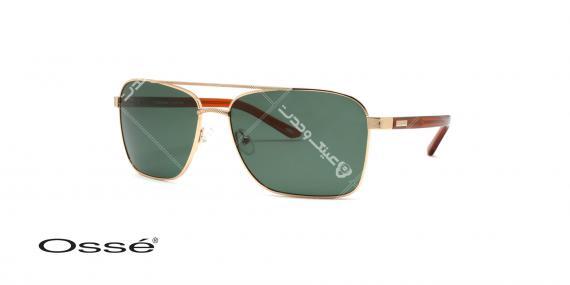 عینک آفتابی اوسه - طرح خلبانی قدیم - بدنه طلایی - شیشه سبز - عکاسی وحدت - زاویه سه رخ