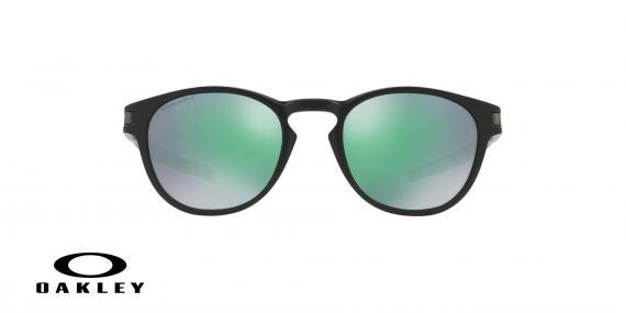 عینک آفتابی گرد اوکلی - با عدسی های پریزم از داخل دودی از بیرون جیوه ای بدنه مشکی - ویژه فروش آنلاین - زاویه روبرو