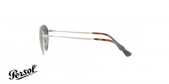 عینک آفتابی فلزی نقره ای با عدسی های آبی رنگ Persol - زاویه کنار