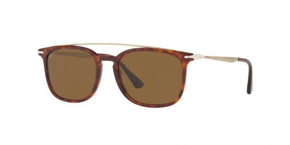 عینک آفتابی کائوچویی پرسول، رنگ قهوه ای هاوانا - عدسی قهوه ای - عکاسی وحدت - زاویه روبرو