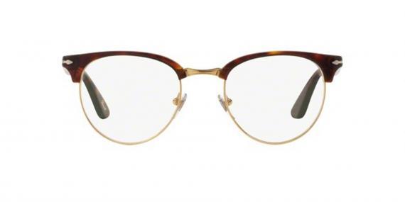 عینک طبی کلاب راند پرسول رنگ قهوه ای هاوانا - عکاسی وحدت - زاویه روبرو