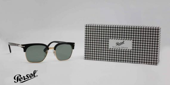 عینک آفتابی پرسول - سری تیلورینگ - سبک کلاب مستر - بدنه مشکی طلایی - شیشه سبز - عکاسی وحدت - سه رخ با جلد
