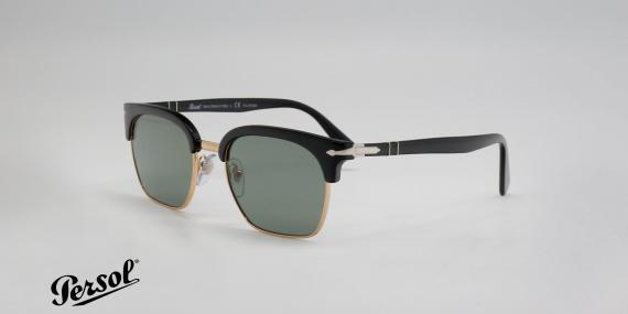 عینک آفتابی پرسول - سری تیلورینگ - سبک کلاب مستر - بدنه مشکی طلایی - شیشه سبز - عکاسی وحدت زاویه سه رخ