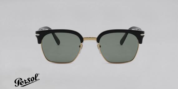 عینک آفتابی پرسول - سری تیلورینگ - سبک کلاب مستر - بدنه مشکی طلایی - شیشه سبز - عکاسی وحدت زاویه روبرو