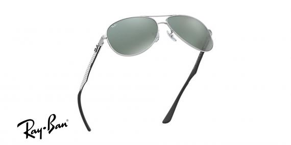 عینک آفتابی ری بن  RB8313- اپتیک وحدت - رنگ فریم نقره ای و عدسی نقره ای جیوه ای -عکس از زاویه سه رخ