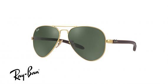 عینک آفتابی ری بن  RB8307- فریم طلایی و عدسی مشکی -اپتیک وحدت - عکس از زاویه سه رخ