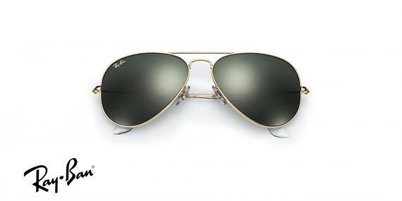 عینک آفتابی ری بن  RB3026- اپتیک وحدت - فریم طلایی و عدسی سبز -عکس از زاویه سه رخ