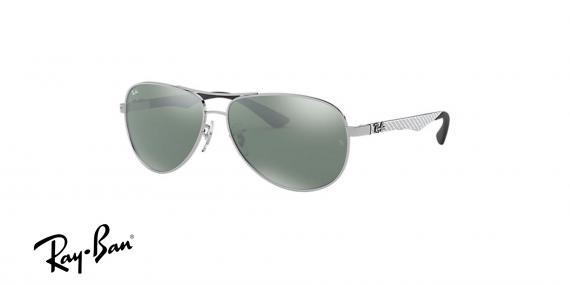 عینک آفتابی ری بن  RB8313- رنگ فریم نقره ای و عدسی نقره ای جیوه ای - اپتیک وحدت - عکس از زاویه سه رخ