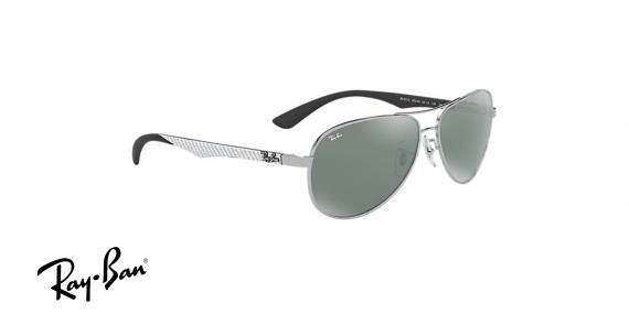 عینک آفتابی ری بن  RB8313-رنگ فریم نقره ای و عدسی نقره ای جیوه ای - اپتیک وحدت - عکس از زاویه سه رخ