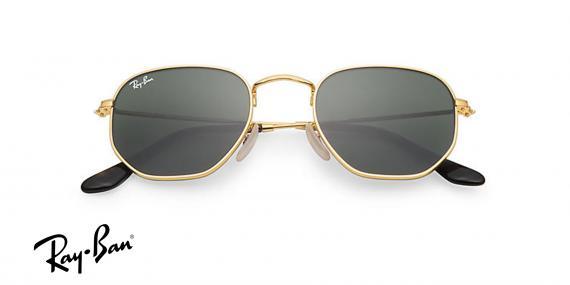 عینک آفتابی شش ضلعی ری بن- 3548N 001 - رنگ طلایی و عدسی سبز کلاسیک - اپتیک وحدت- عکس زاویه روبرو