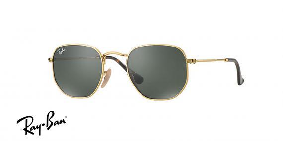 عینک آفتابی شش ضلعی ری بن- 3548N 001 - رنگ طلایی و عدسی سبز کلاسیک - اپتیک وحدت- عکس زاویه سه رخ