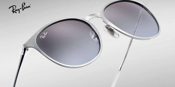 عینک آفتابی تمام فلزی نقره ای ریبن - طرح حدقه خلبانی - مدل اریکا - زاویه نزدیک
