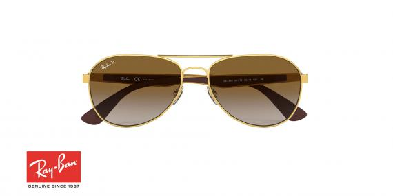 عینک آفتابی طرح خلبانی ری بن - دسته قهوه ای بدنه فلزی طلایی - عدسی قهوه ای طیف دار - زاویه روبرو