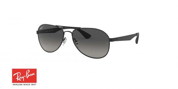 عینک آفتابی طرح خلبانی ری بن - دسته نوک مدادی - عدسی دودی طیف دار - زاویه سه رخ