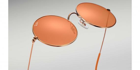 عینک آفتابی ری بن مدل جاجو رنگ شیشه نارنجی زاویه کنار از پایین
