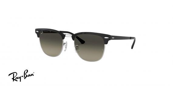 عینک آفتابی ریبن - کلاب مستر تمام فلزی - بدنه مشکی نقره ای - عدسی خاکستری طیف دار - زاویه سه رخ