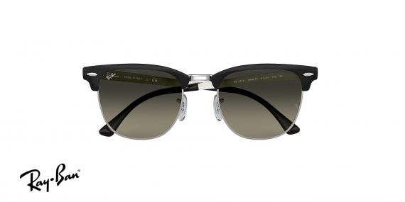 عینک آفتابی ریبن - کلاب مستر تمام فلزی - بدنه مشکی نقره ای - عدسی خاکستری طیف دار - زاویه روبرو