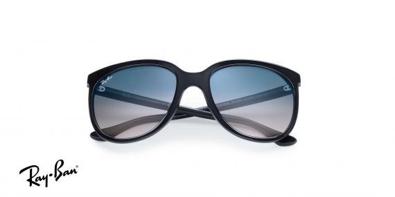 عینک آفتابی ریبن اصل - مدل گربه های 1000 - بدنه مشکی - عدسی آبی طیف دار - زاویه دسته بسته