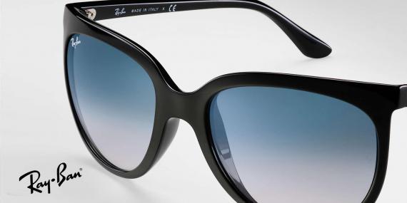 عینک آفتابی ریبن اصل - مدل گربه های 1000 - بدنه مشکی - عدسی آبی طیف دار - زاویه نزدیک