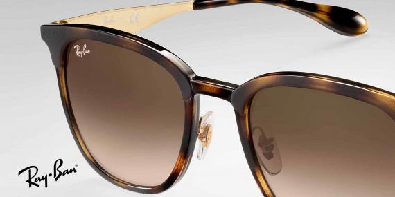 عینک آفتابی ریبن شکل مربعی - بدنه قهوه ای هاوانا - عدسی قهوه ای سایه روشن