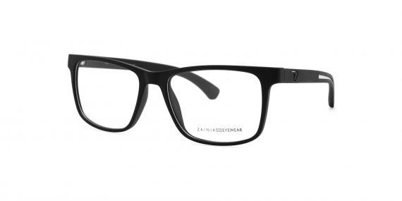 عینک طبی زینیا مستطیلی شکل مشکی نقره ای رنگ - زاویه سه رخ