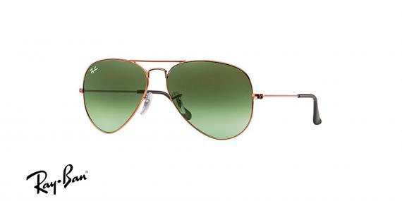 عینک آفتابی مدل خلبانی ری بن - بدنه برنزی رنگ - شیشه سبز طیف دار - زاویه سه رخ