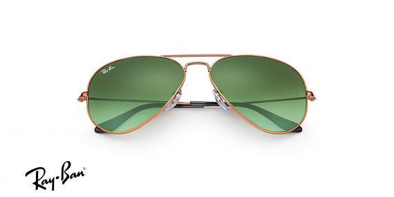 عینک آفتابی مدل خلبانی ری بن - بدنه برنزی رنگ - شیشه سبز طیف دار - زاویه روبرو