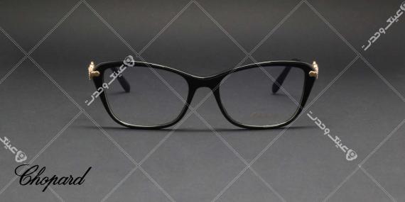 عینک طبی کائوچویی حدقه مشکی دسته طلایی Chopard - عکاسی وحدت - زاویه روبرو