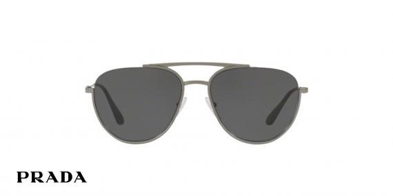 عینک آفتابی خلبانی پرادا رنگ خاکستری  - زاویه رو به رو