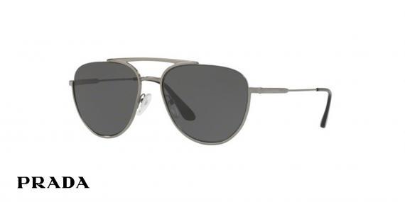 عینک آفتابی خلبانی پرادا رنگ خاکستری - زاویه سه رخ
