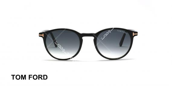 عینک آفتابی گرد تام فورد مشکی عدسی دودی طیف دار - عکاسی شده توسط عینک وحدت - زاویه رو به رو