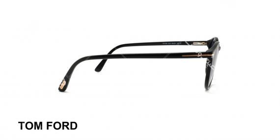 عینک آفتابی گرد تام فورد مشکی عدسی دودی طیف دار - عکاسی شده توسط عینک وحدت - زاویه کنار