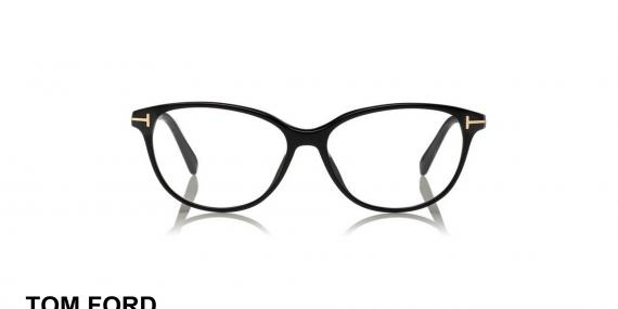 عینک طبی تام فورد - مدل گربه ای - کائوچویی مشکی رنگ - زاویه روبرو