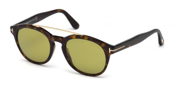 عینک آفتابی تام فورد مدل گرد با پل فلزی بالا - رنگ هاوانا - عکاسی وحدت - زاویه سه رخ