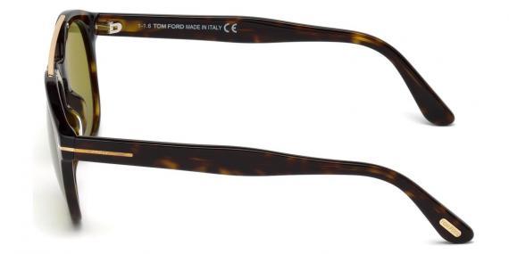 عینک آفتابی تام فورد مدل گرد با پل فلزی بالا - رنگ هاوانا - عکاسی وحدت - زاویه کنار