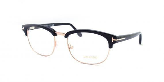 عینک طبی کلاب مستری تام فورد - مشکی طلایی - Tom Ford - زاویه سه رخ
