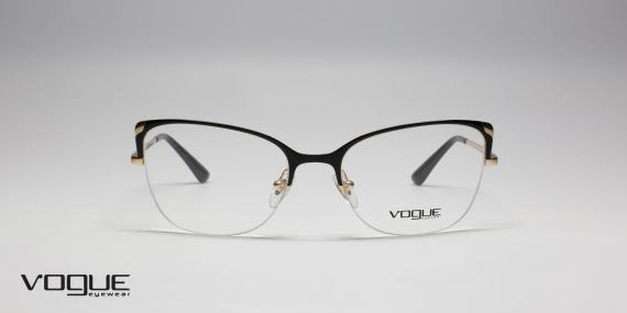 طبی طرح گربه ای وگ - Vogue -  مشکی طلایی - زاویه روبرو