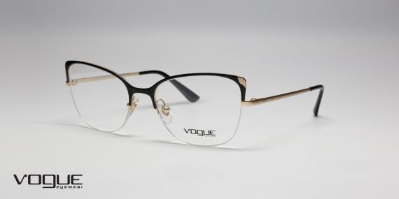 طبی طرح گربه ای وگ - Vogue -  مشکی طلایی - زاویه سه رخ