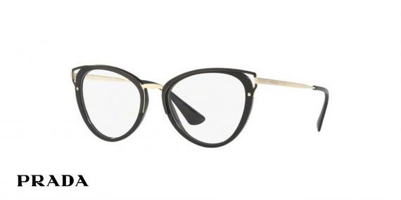 عینک طبی گربه ای مشکی طلایی پرادا - زاویه سه رخ
